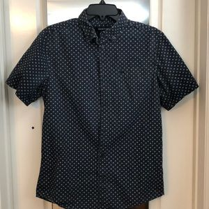 Navy Blue Short Sleeve Button Up